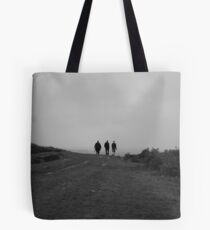 Three people walking,Black and White  Tote Bag