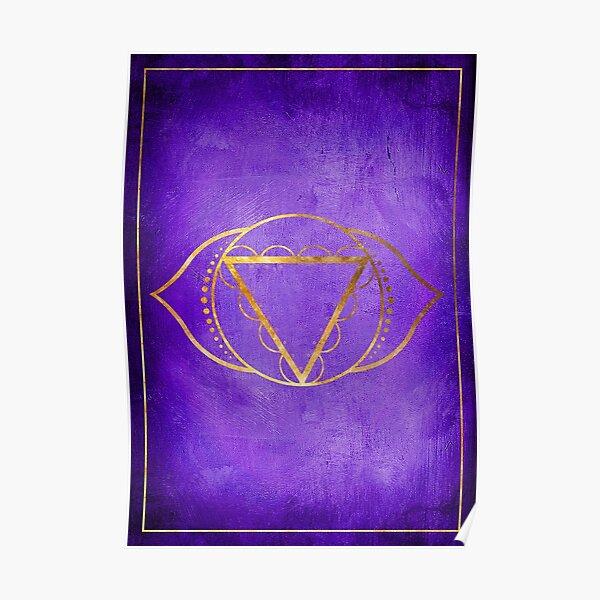 El chakra del tercer ojo (o chakra Ajna) es el sexto de los siete chakras y se encuentra entre los ojos. Este chakra está asociado con la luz y está conectado con la percepción. Póster