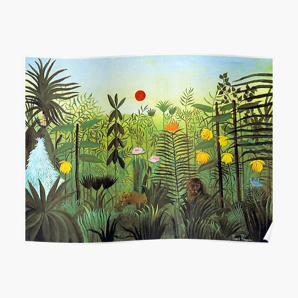 EXOTIC LANDSCAPE WITH LION AND LIONESS IN AFRICA - HENRI ROUSSEAU  Poster