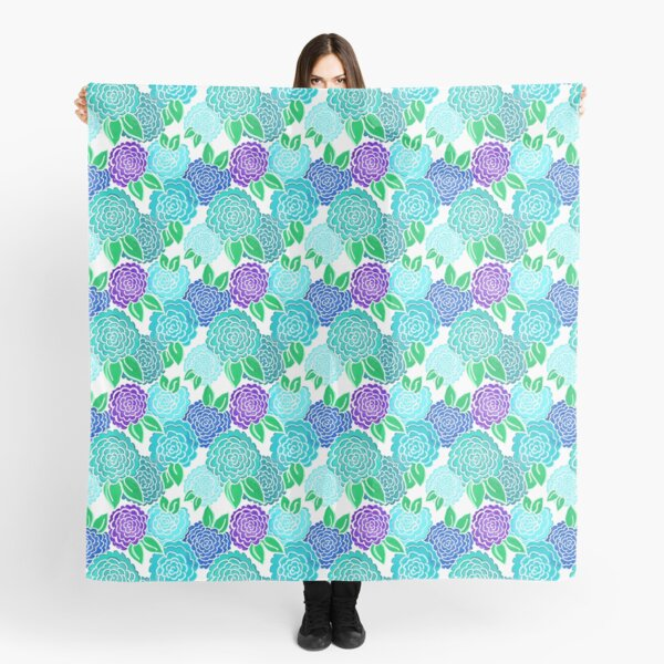 Spring Floral on White (blue flowers) 3.9.20 Scarf