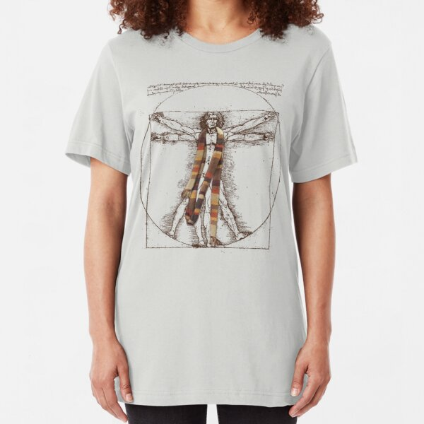 Da Vinci Meets the Doctor (for Light Tshirts) Slim Fit T-Shirt
