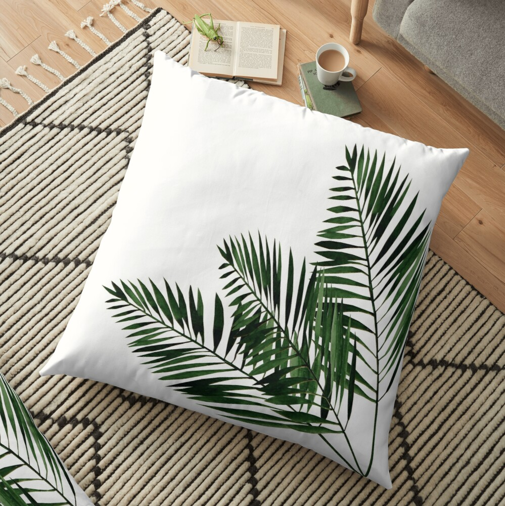 Tropical Exotic Palm Leaves on #Redbubble Floor Pillow