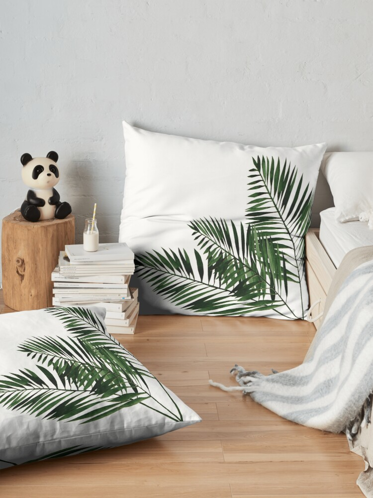 Alternate view of Tropical Exotic Palm Leaves on #Redbubble Floor Pillow