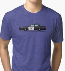 California Highway Patrol Ford Crown Victoria Police Interceptor Tri-blend T-Shirt
