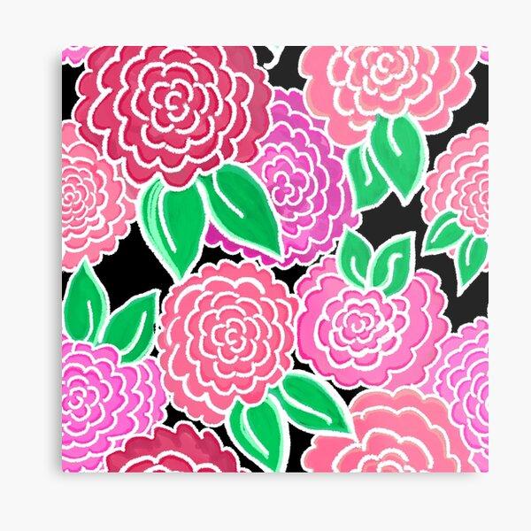 Spring Floral (pink flowers on black) 3.9.20 Metal Print