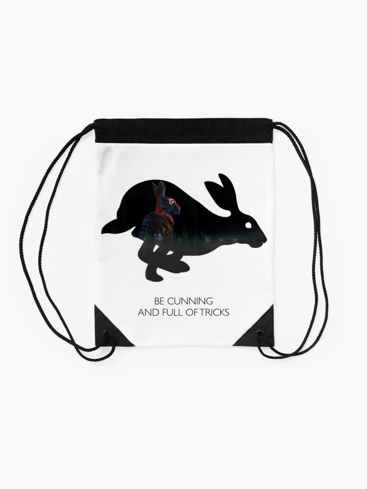Alternate view of Cunning and Full of Tricks Drawstring Bag
