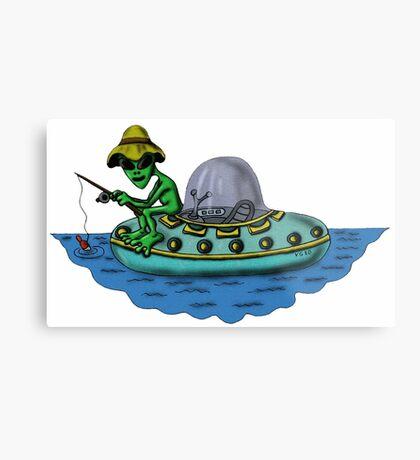 Fishing Alien funny cartoon drawing Metal Print