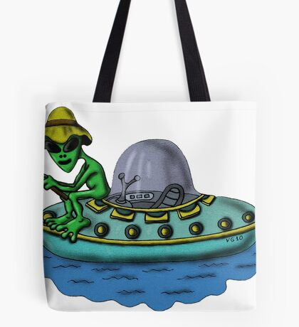 Fishing Alien funny cartoon drawing Tote Bag