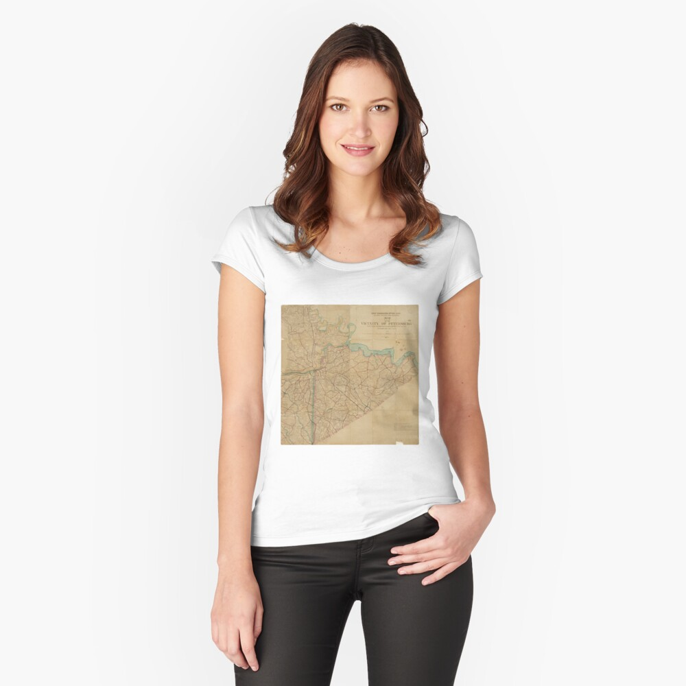 Map of Petersburg Virginia (1864) Women's Fitted Scoop T-Shirt Front