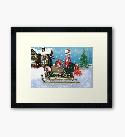 Santa's Sleigh with Elf Framed Print