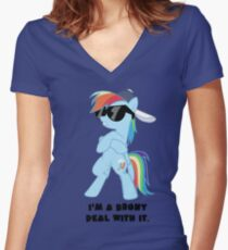 I'm a Brony Deal with it. (Rainbow Dash) - My little Pony Friendship is Magic Women's Fitted V-Neck T-Shirt