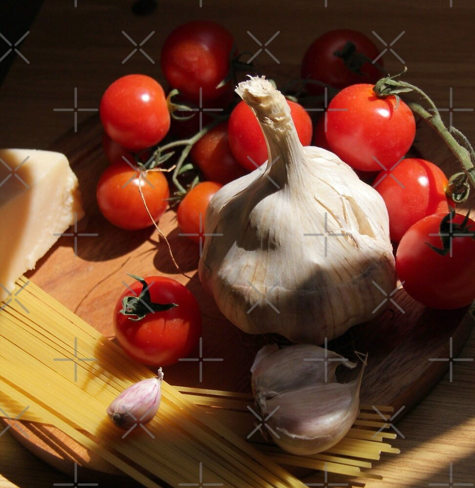 Pasta with Ingredients on the kitchens table by Margarita K