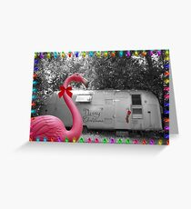 Holiday Pink Flamingo Grußkarte