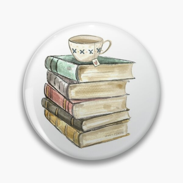 Vintage Book Stack and Tea Pin