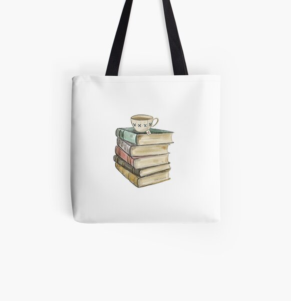 Vintage Book Stack and Tea All Over Print Tote Bag