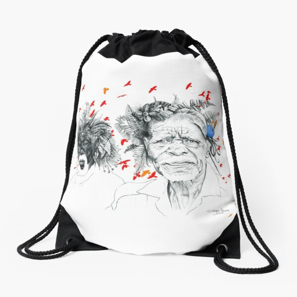 Sunmen with the Birds Drawstring Bag