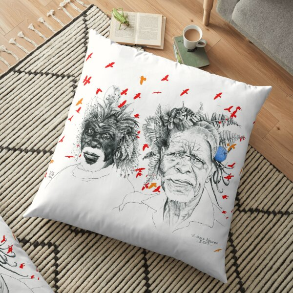 Sunmen with the Birds Floor Pillow