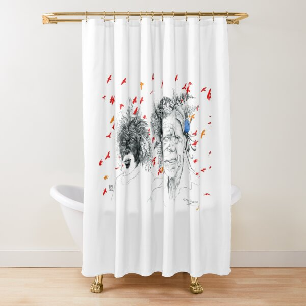 Sunmen with the Birds Shower Curtain