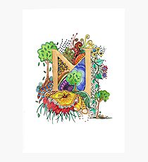 M - an illuminated letter Photographic Print