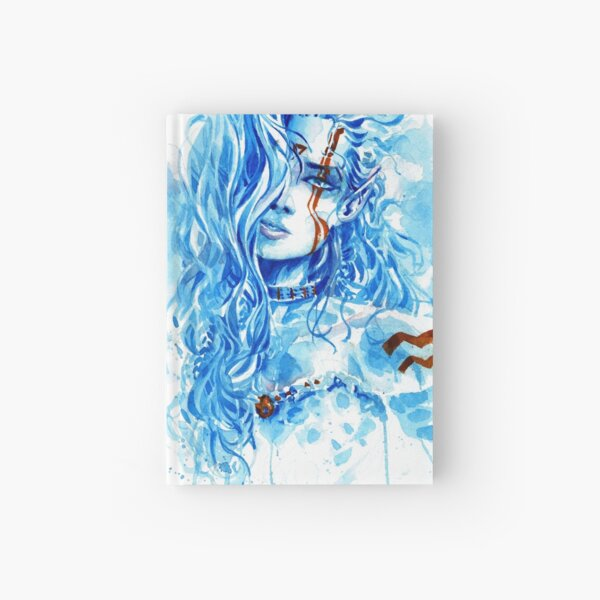 Azurian Elf - Watercolor Art by Tony Moy Hardcover Journal