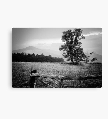 Cades Cove B&W Smoky Mountains Valley 1  Canvas Print