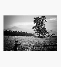 Cades Cove B&W Smoky Mountains Valley 1  Photographic Print