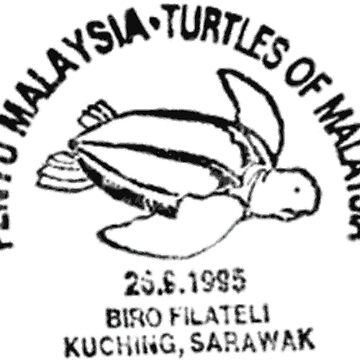 Turtles of Malaysia Postal Stamp - Vintage Print by staticnomad