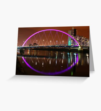Glasgow's Squinty Bridge at Night Greeting Card