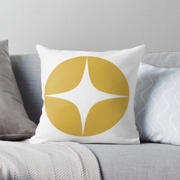 Atomic Age Neutra Single Pattern - Midcentury Modern Minimalism in Light Mustard Yellow and White Throw Pillow