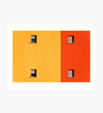 Four tiny windows on a yellow and orange wall Art Print
