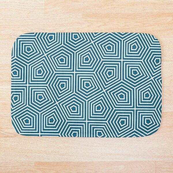 Cairo Pentagonal Tiling Blue White Bath Mat