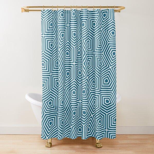 Cairo Pentagonal Tiling Blue White Shower Curtain
