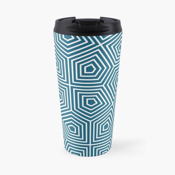 Cairo Pentagonal Tiling Blue White Travel Mug