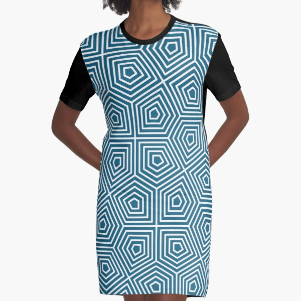Cairo Pentagonal Tiling Blue White Graphic T-Shirt Dress