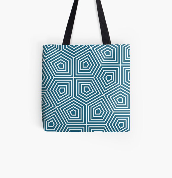 Cairo Pentagonal Tiling Blue White All Over Print Tote Bag