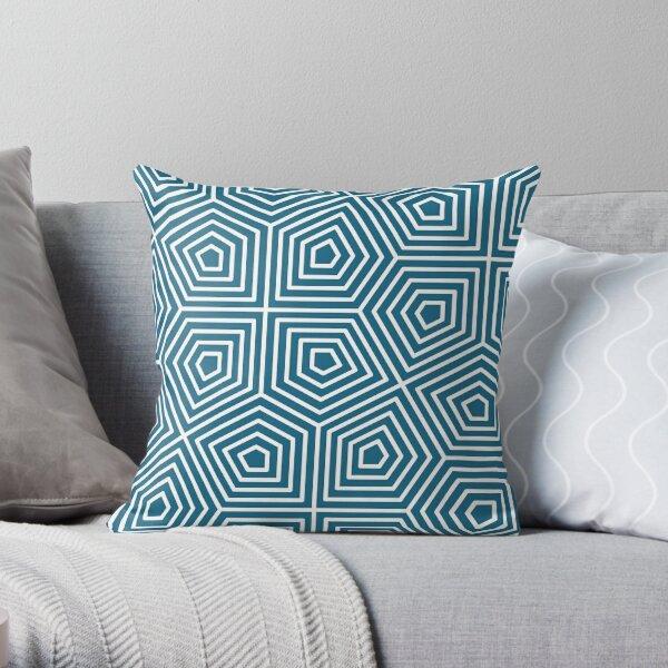 Cairo Pentagonal Tiling Blue White Throw Pillow