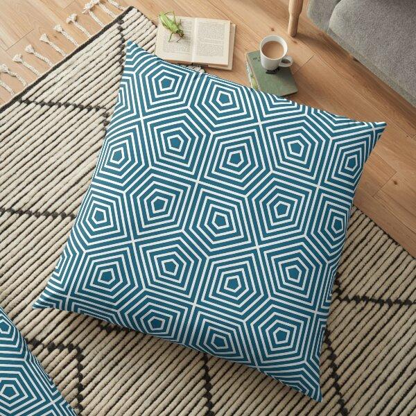 Cairo Pentagonal Tiling Blue White Floor Pillow