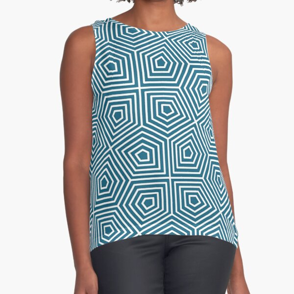Cairo Pentagonal Tiling Blue White Sleeveless Top