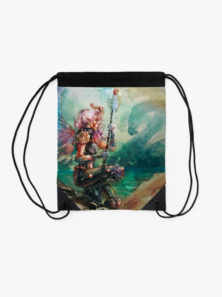 Alternate view of Angel's Quest - Watercolor Art by Tony Moy Drawstring Bag