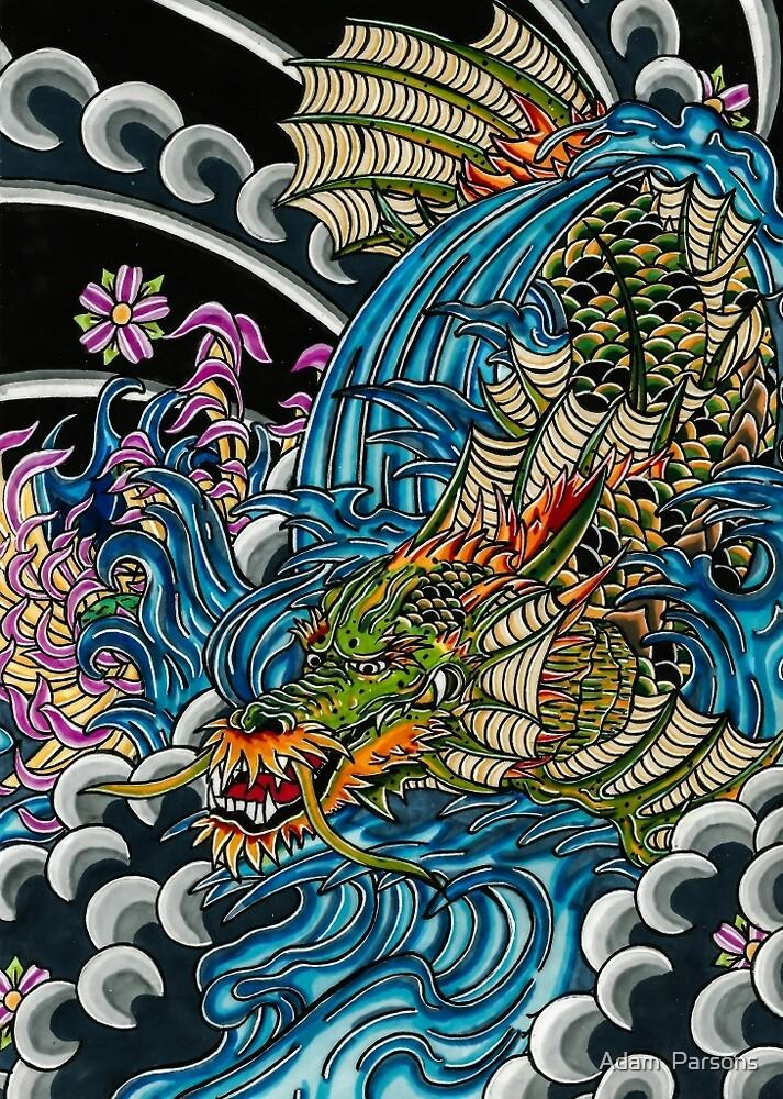 japanese koi dragon by Adam  Parsons
