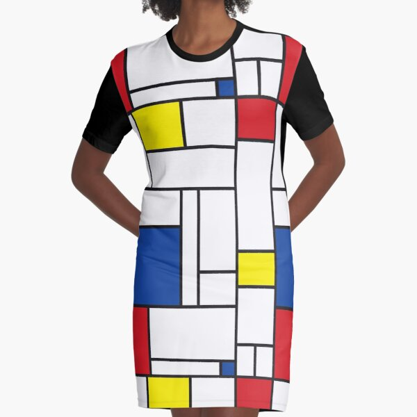 Mondrian Minimalist De Stijl Modern Art II © fatfatin Graphic T-Shirt Dress