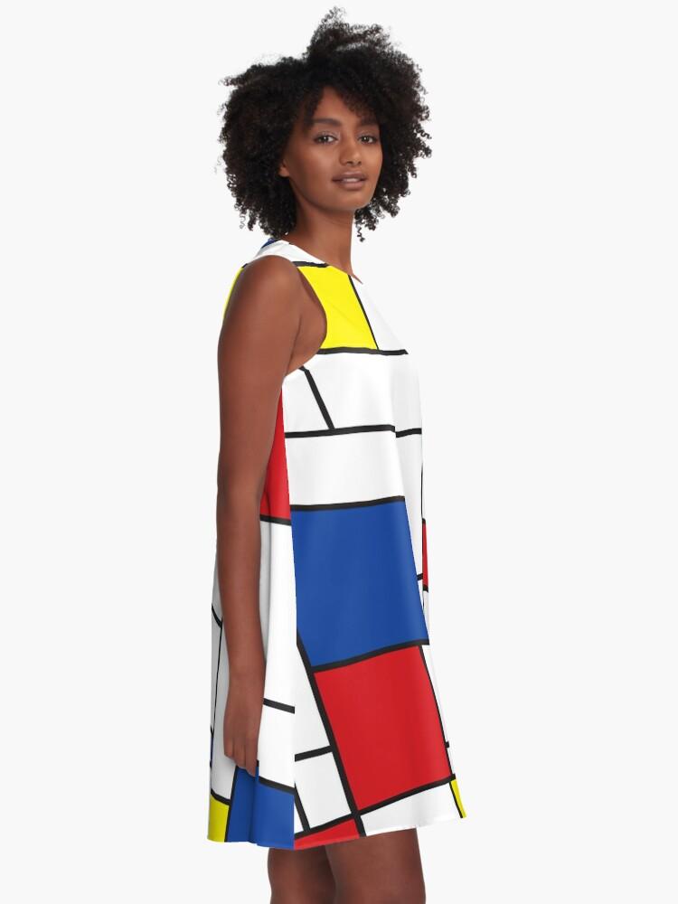 Alternate view of Mondrian Minimalist De Stijl Modern Art II © fatfatin A-Line Dress