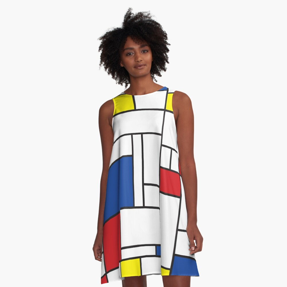 Mondrian Minimalist De Stijl Modern Art II © fatfatin A-Line Dress