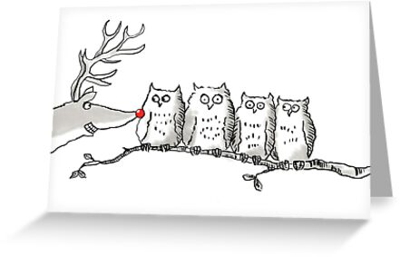 Owls get bothered by Reindeer by Henry Jones