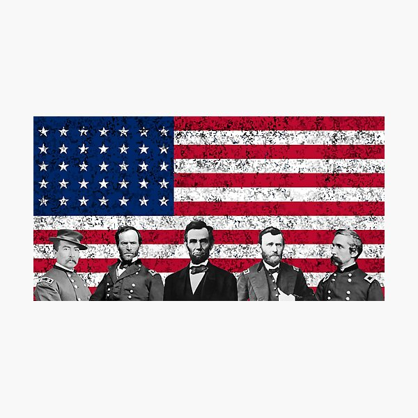 Union Heroes and The American Flag Photographic Print
