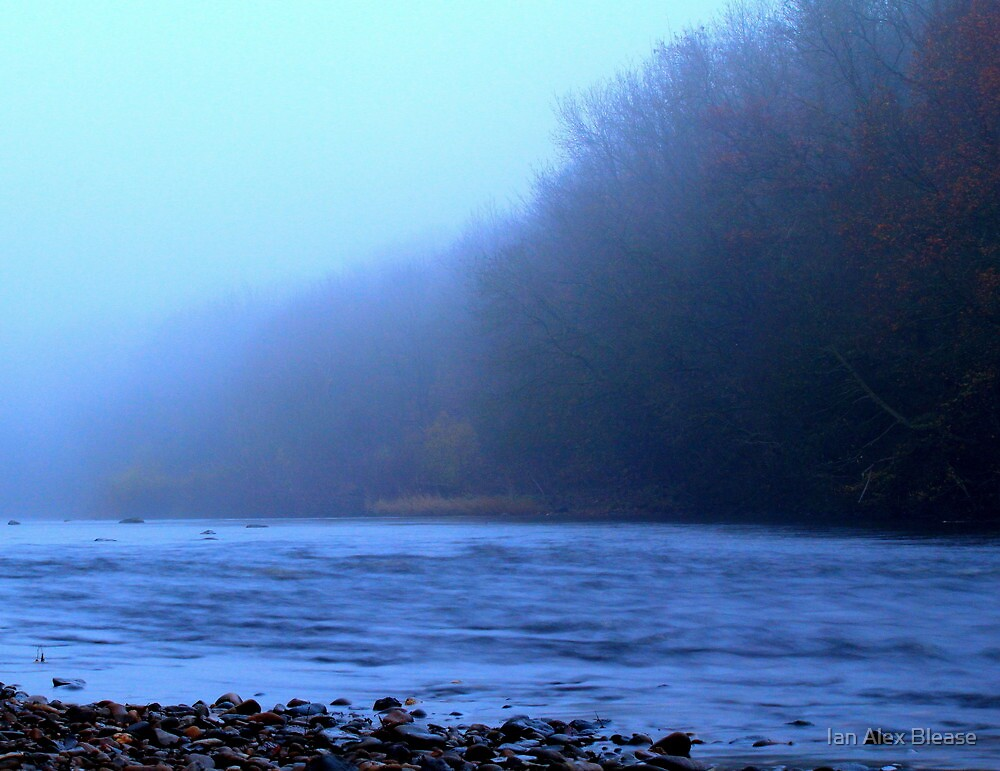 Foggy Autumn afternoon along the River Tees, England by Ian Alex Blease