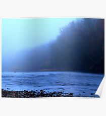 Foggy Autumn afternoon along the River Tees, England Poster