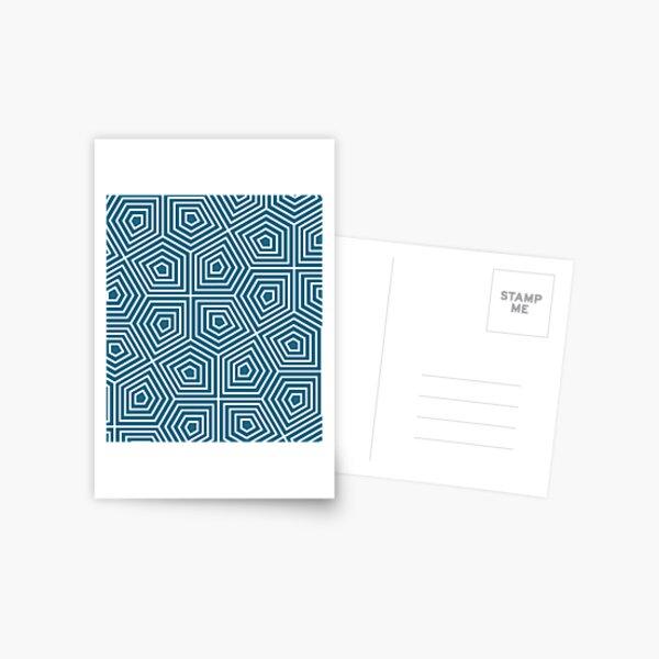 Cairo Pentagonal Tiling Blue White Postcard