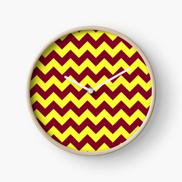 Electric Yellow and Burgundy Red Horizontal Zigzags Clock
