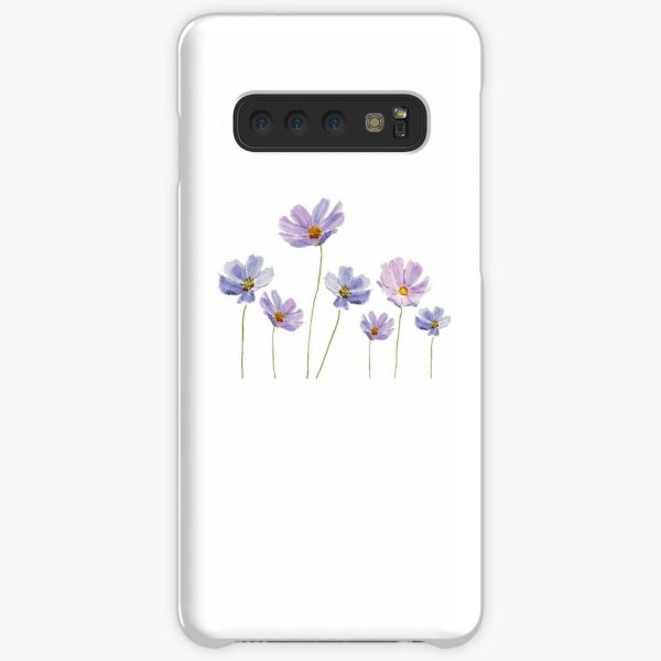 purple cosmos flowers watercolor Samsung Galaxy Snap Case